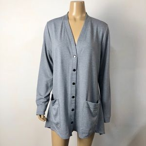 Logo by Lori Goldstein gray button front cardigan